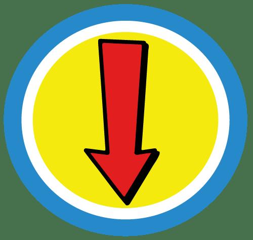 Captain-Hear'O-Down-Arrow-Badge